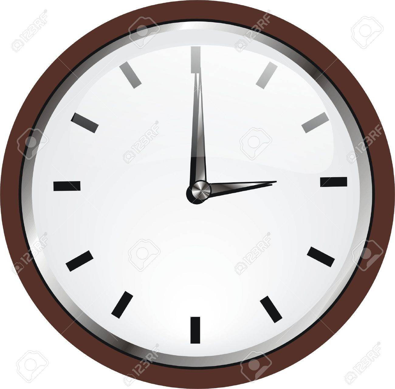 A Wall Clock With Wooden Frame Royalty Free Cliparts, Vectors, And ...