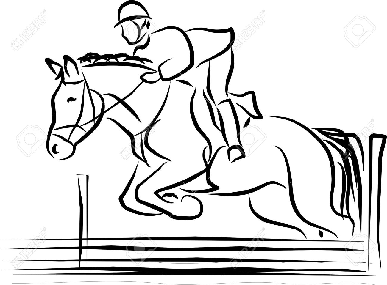 horse and rider jumping an obstacle Stock Vector - 9537844