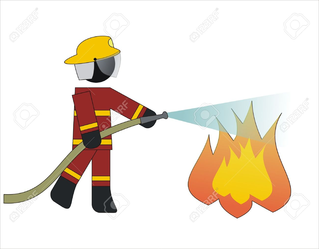 firefighter put out a fire with water royalty free cliparts vectors