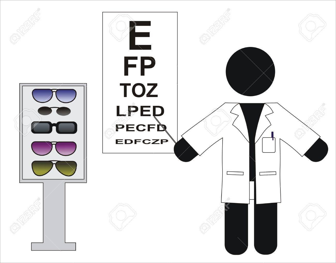 Optical optometrist doing a visual test Stock Vector - 9692613
