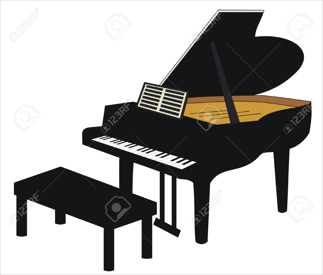 Drawing Of A Grand Piano With Seat Royalty Free Cliparts, Vectors ...