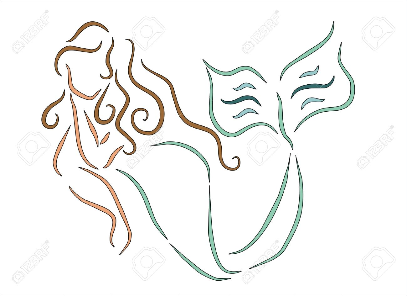 Mermaid Swimming Drawings Vector Mermaid Swimming in