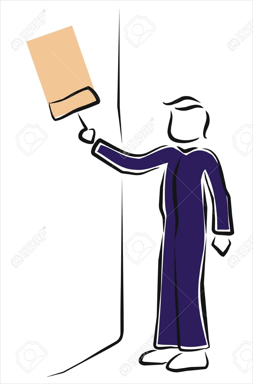 painter painting a wall in pink Stock Vector - 11218422