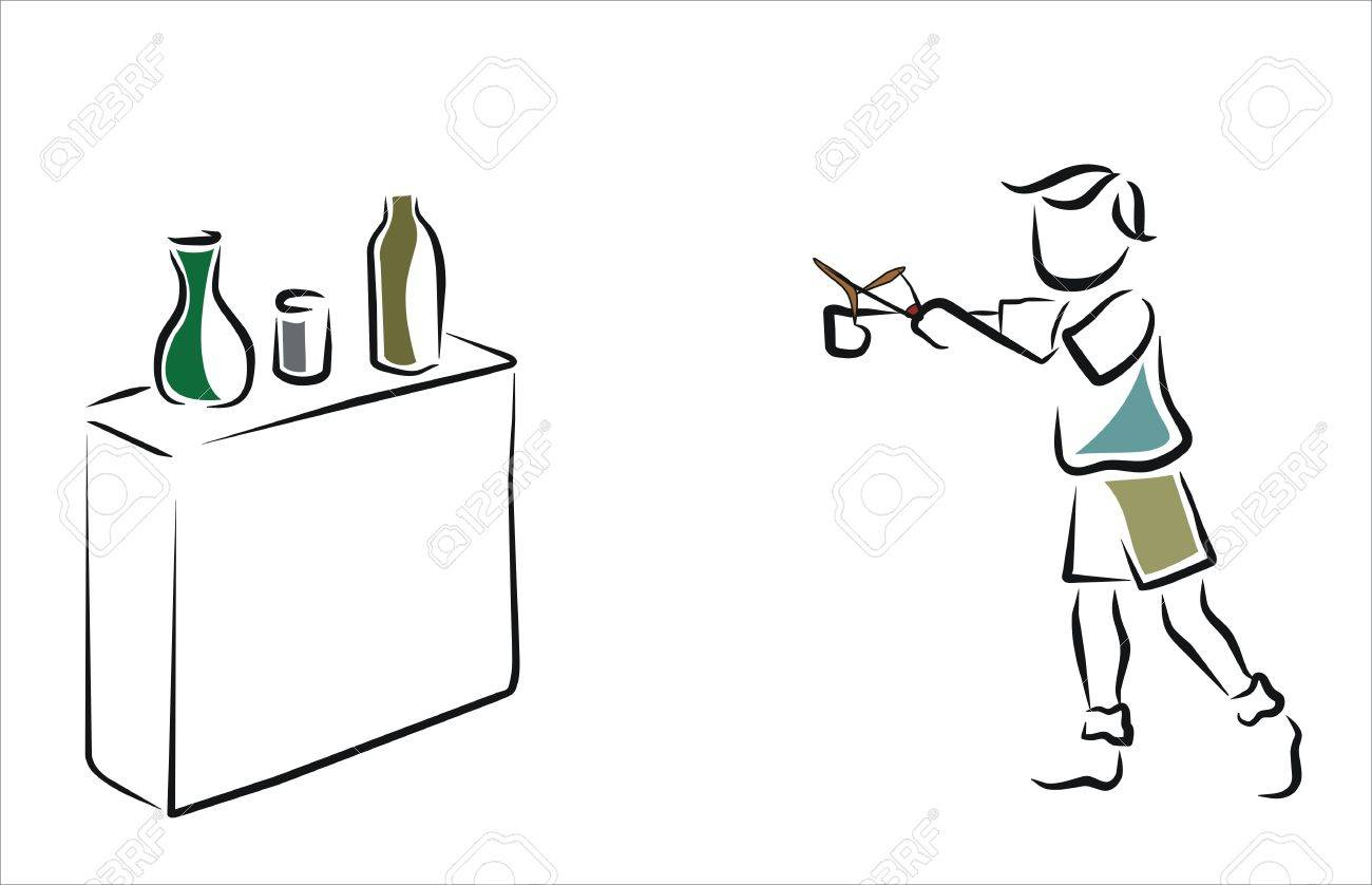 child playing with slingshots and empty bottles Stock Vector - 11218428