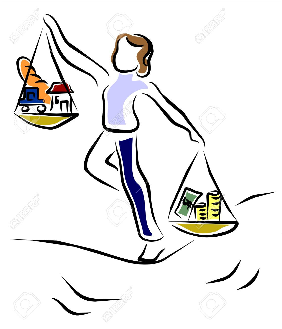 housewife striving to save Stock Vector - 12884245