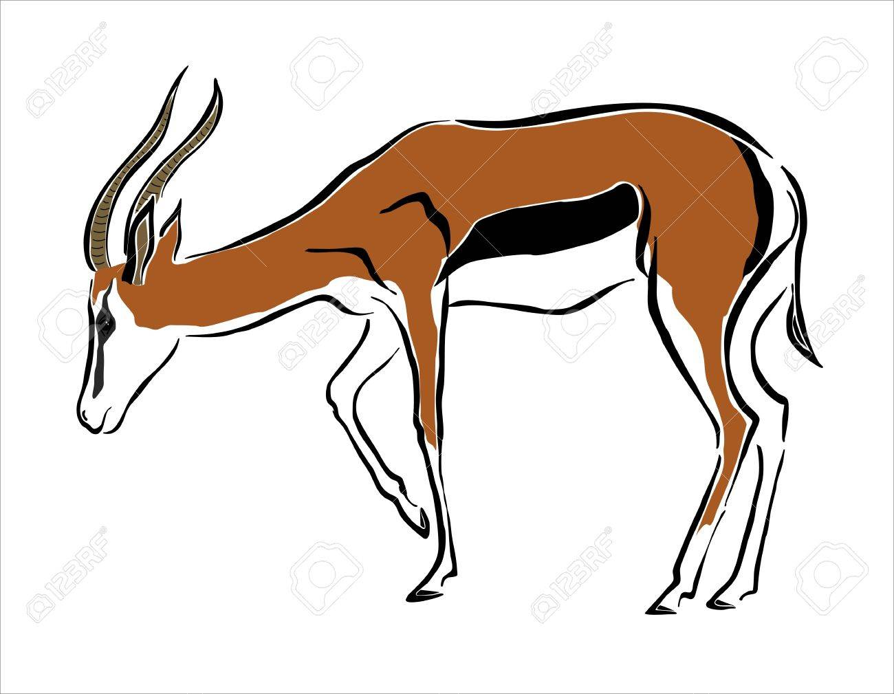 Drawing Of An Antelope Royalty Free Cliparts, Vectors, And Stock ...