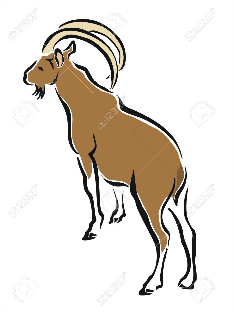 drawing of a brown mountain goat