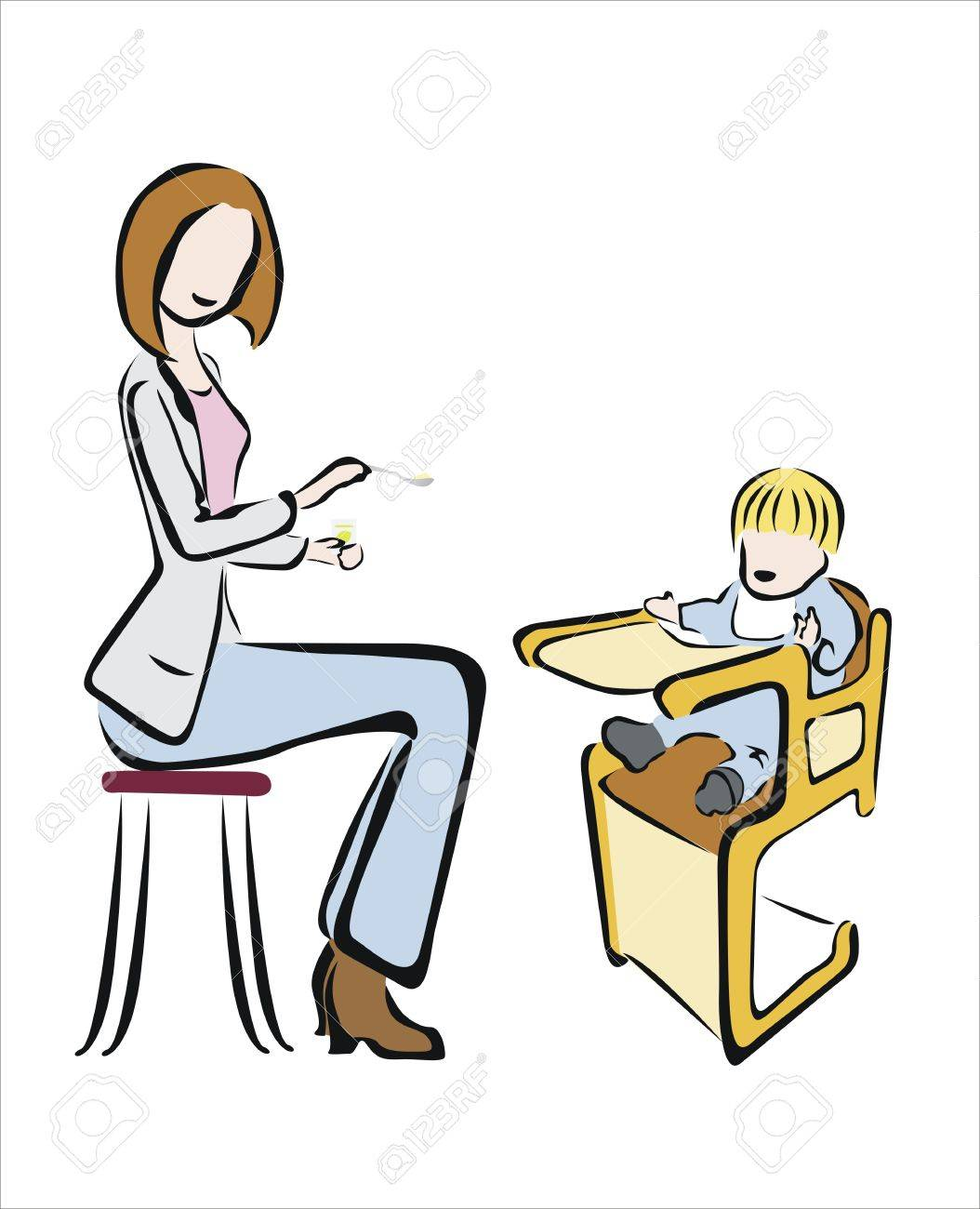 Bébé Dans Mère Nourrit Son Qui Une Chaise Haute orexBWEQdC