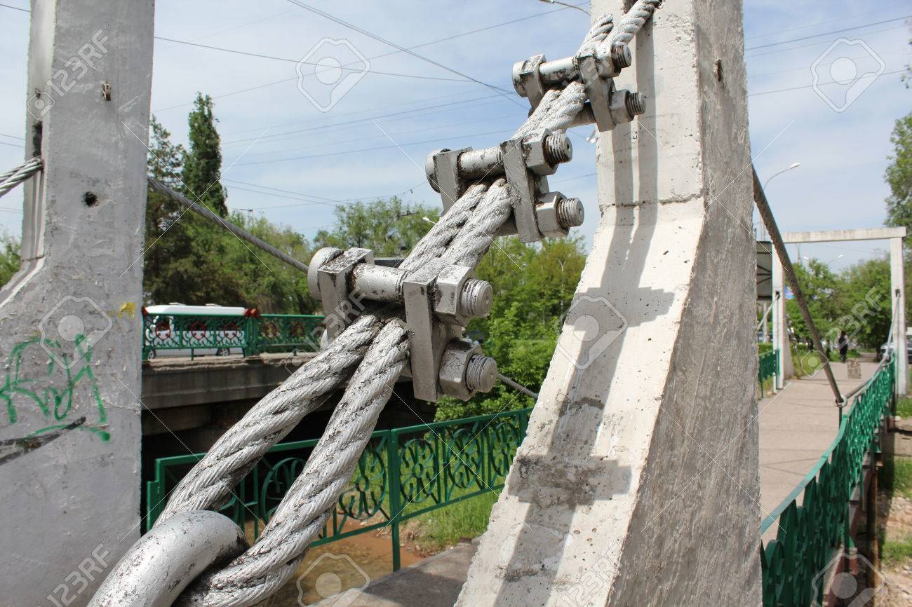 Large Bolts, Nuts And Steel Wire Rope. Elements Of Fastening.. Stock ...