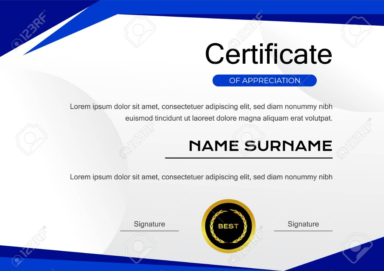 creative blue certificate of achievement template with gold badge vector design - 149991783