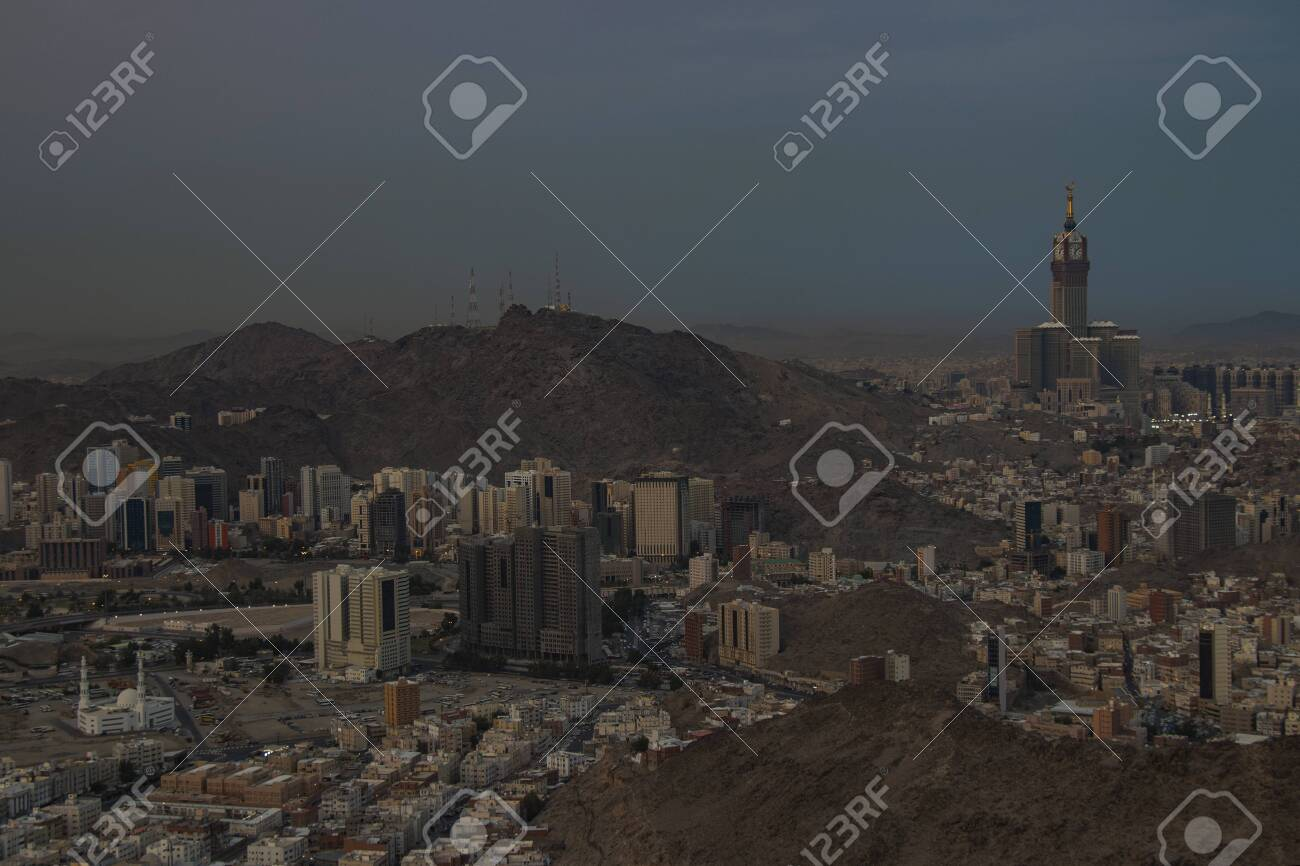 Panoramic Skyline View Of Mecca City From Jabal Nur Skyline Stock Photo Picture And Royalty Free Image Image 152347037