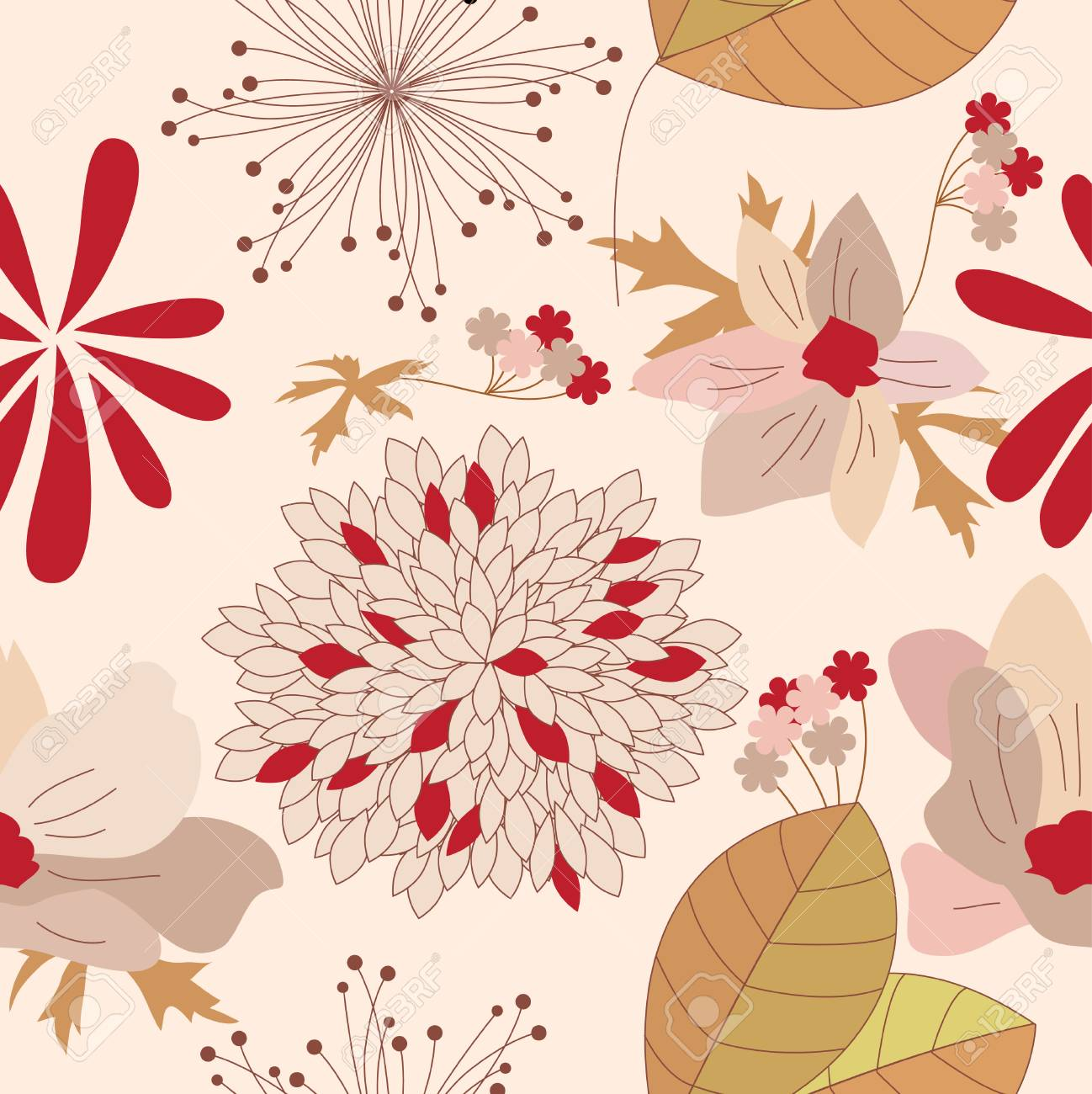 Seamless floral beige and red pattern Stock Vector - 7652203