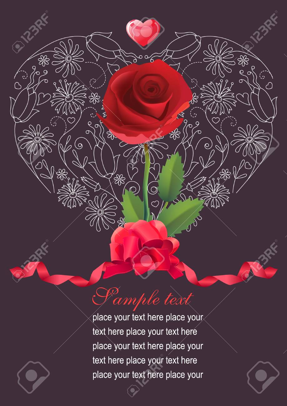 Stock   Illustration: Floral heart with rose Stock Vector - 7710557