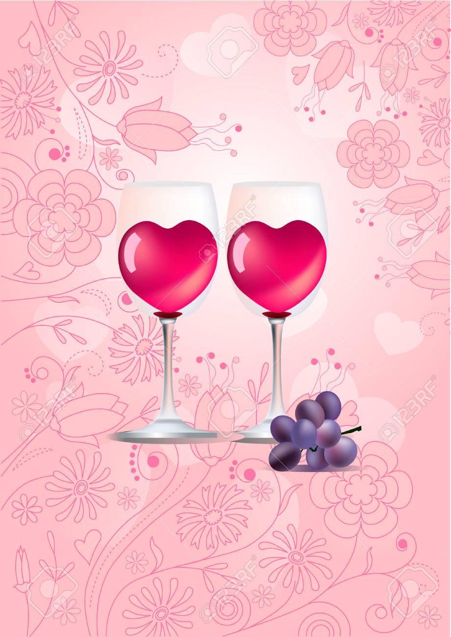 Dos Copas De Vino Sobre Fondo Pastel Ilustraciones Vectoriales