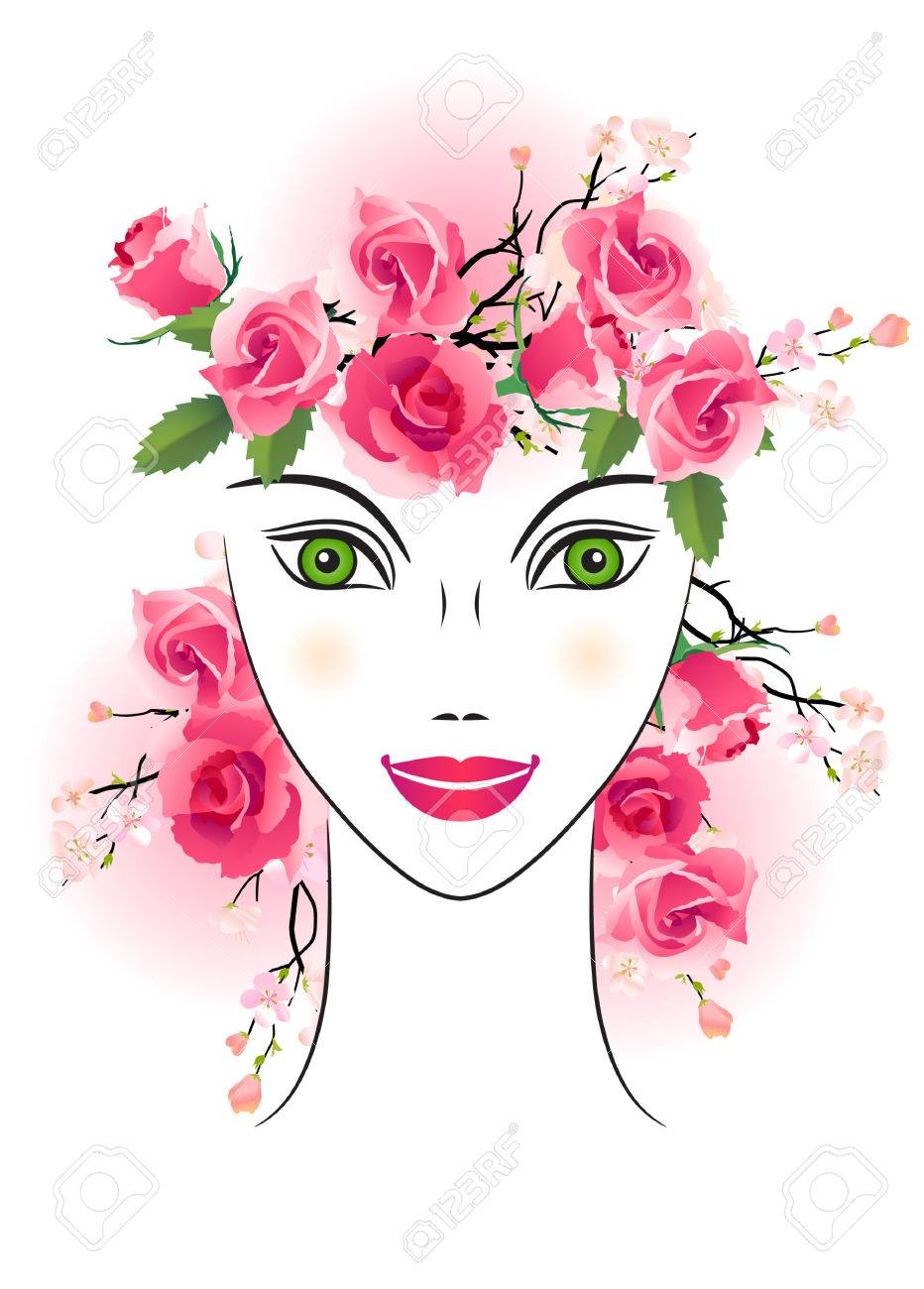 Floral woman with roses in her hair Stock Vector - 7710738