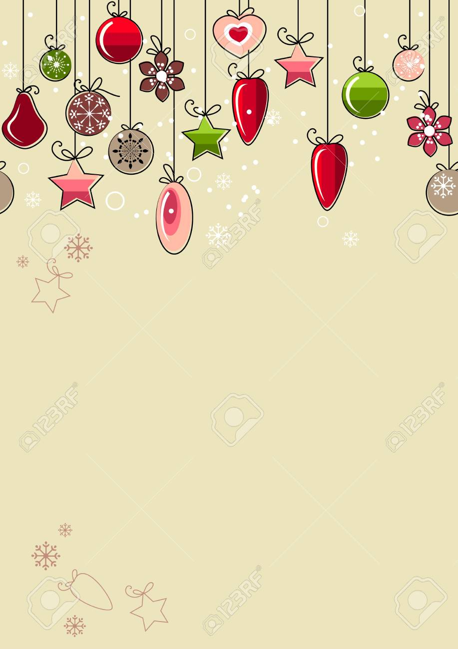 Christmas background with contour balls Stock Vector - 8380174