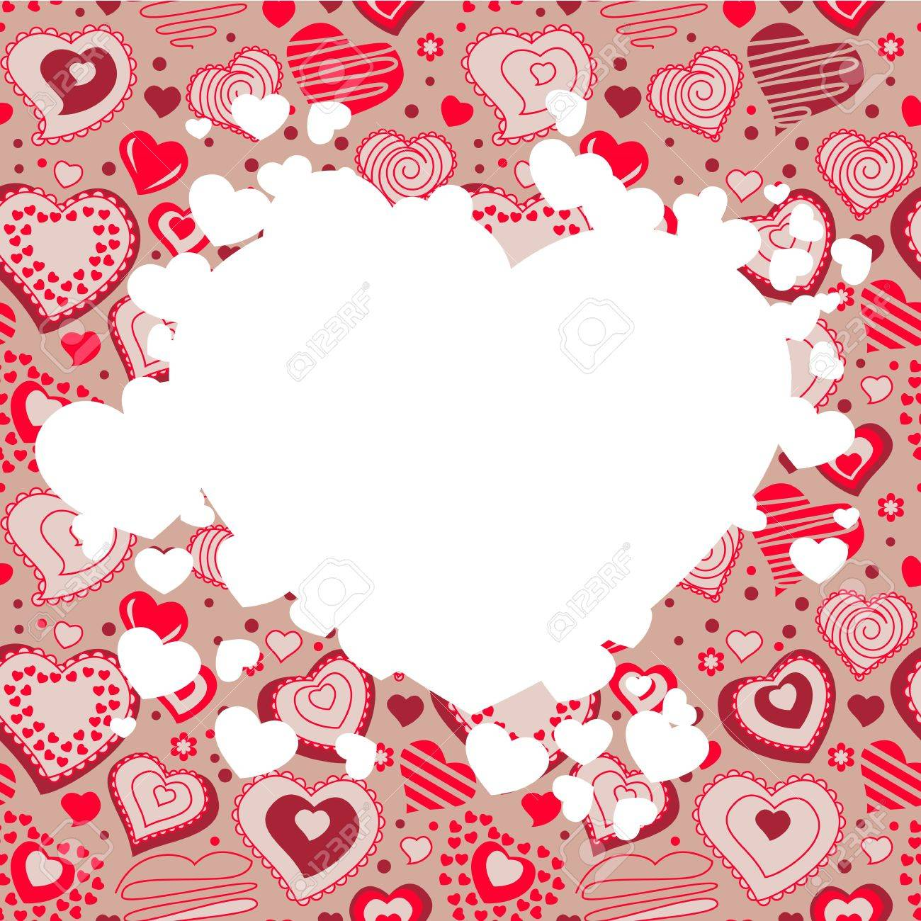 Frame with many hearts Stock Vector - 8584424