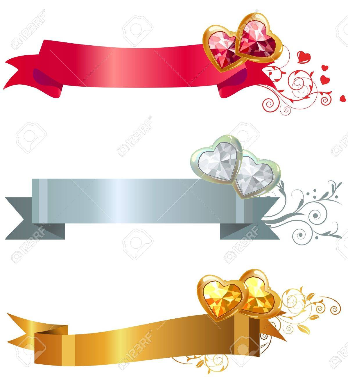 Three banners with jewels Stock Vector - 8639032