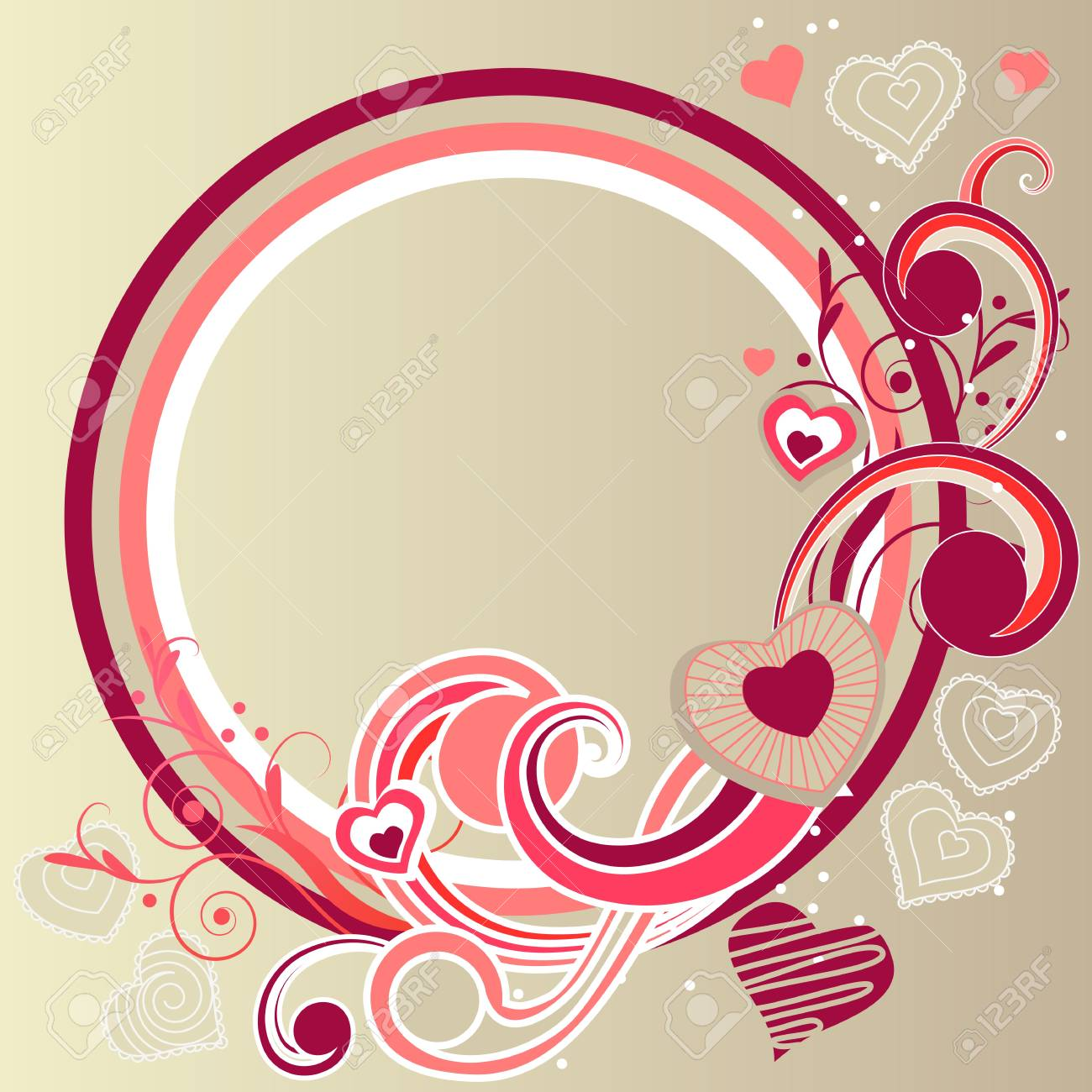 Frame with hearts and swirl elements Stock Vector - 8659200