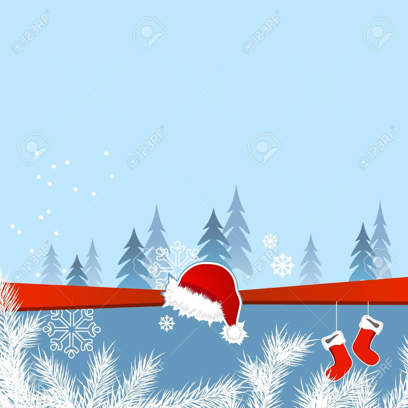 Christmas greeting card with santa cap and socks Stock Vector - 10448680