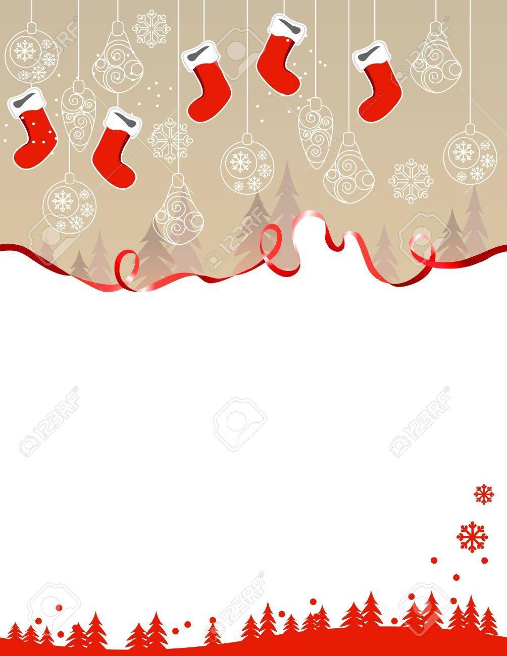 Christmas Greeting Card Mit Hängenden Santa Socken Lizenzfrei ...