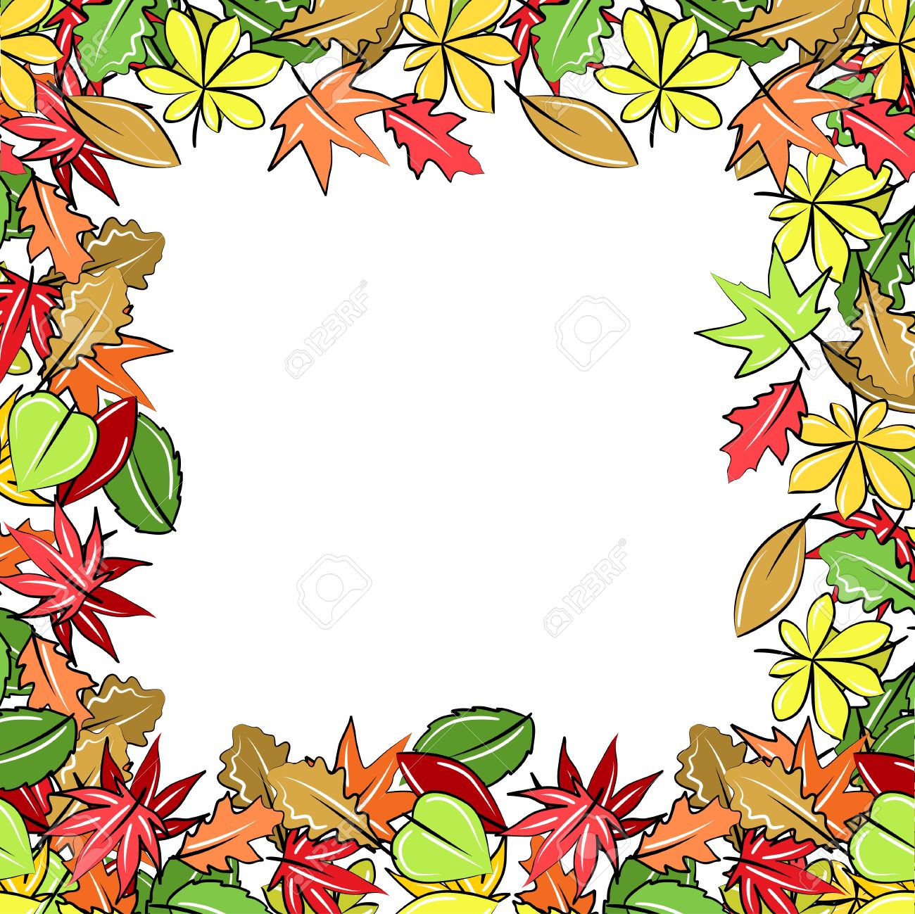 frame made of autumn leaves royalty free cliparts vectors and