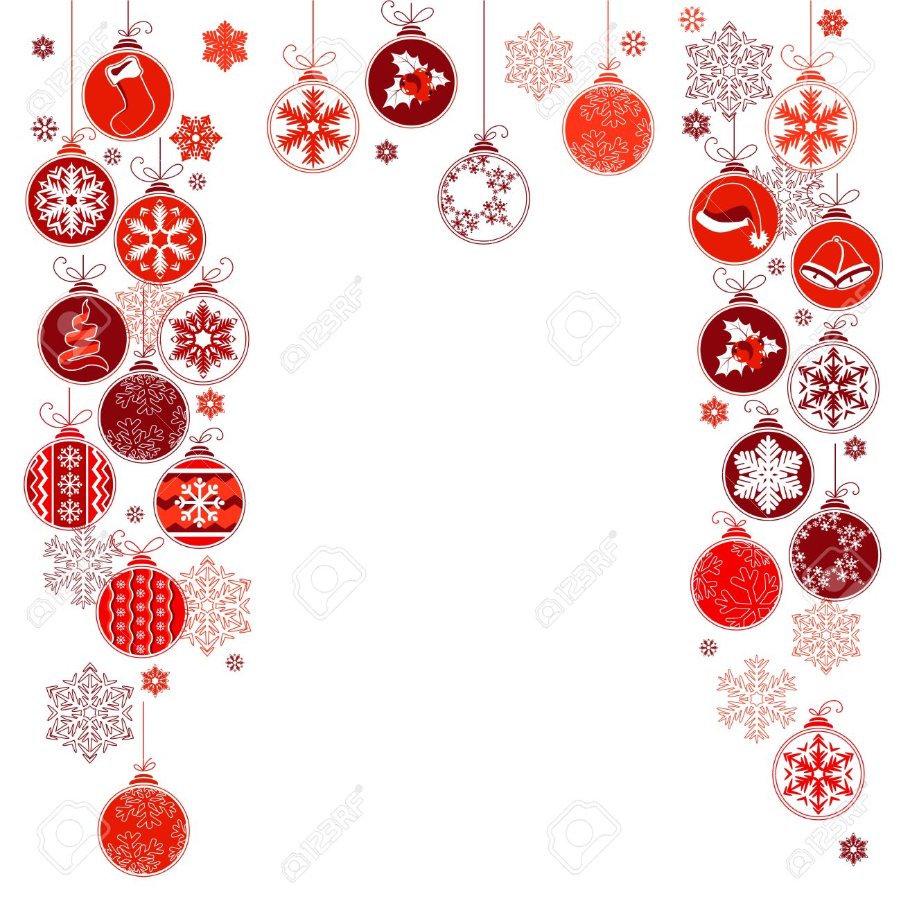 Blank Christmas Frame With Hanging Balls Royalty Free Cliparts ...