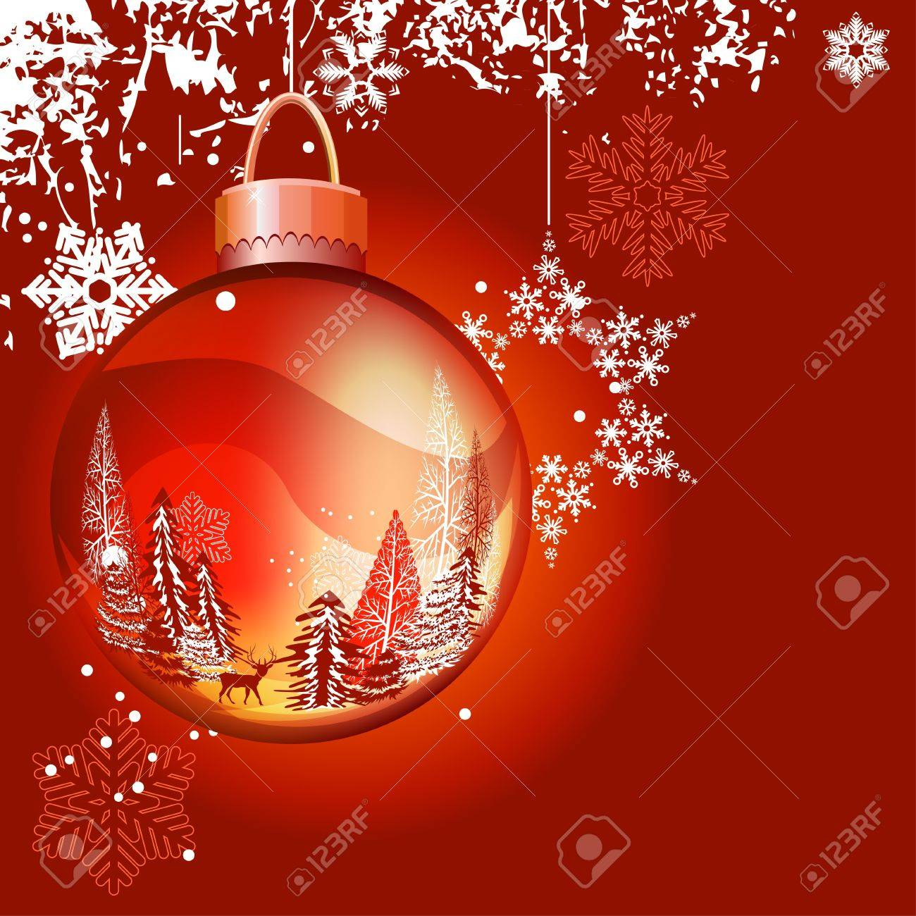 Christmas background with ball and snowflakes Stock Vector - 10614889