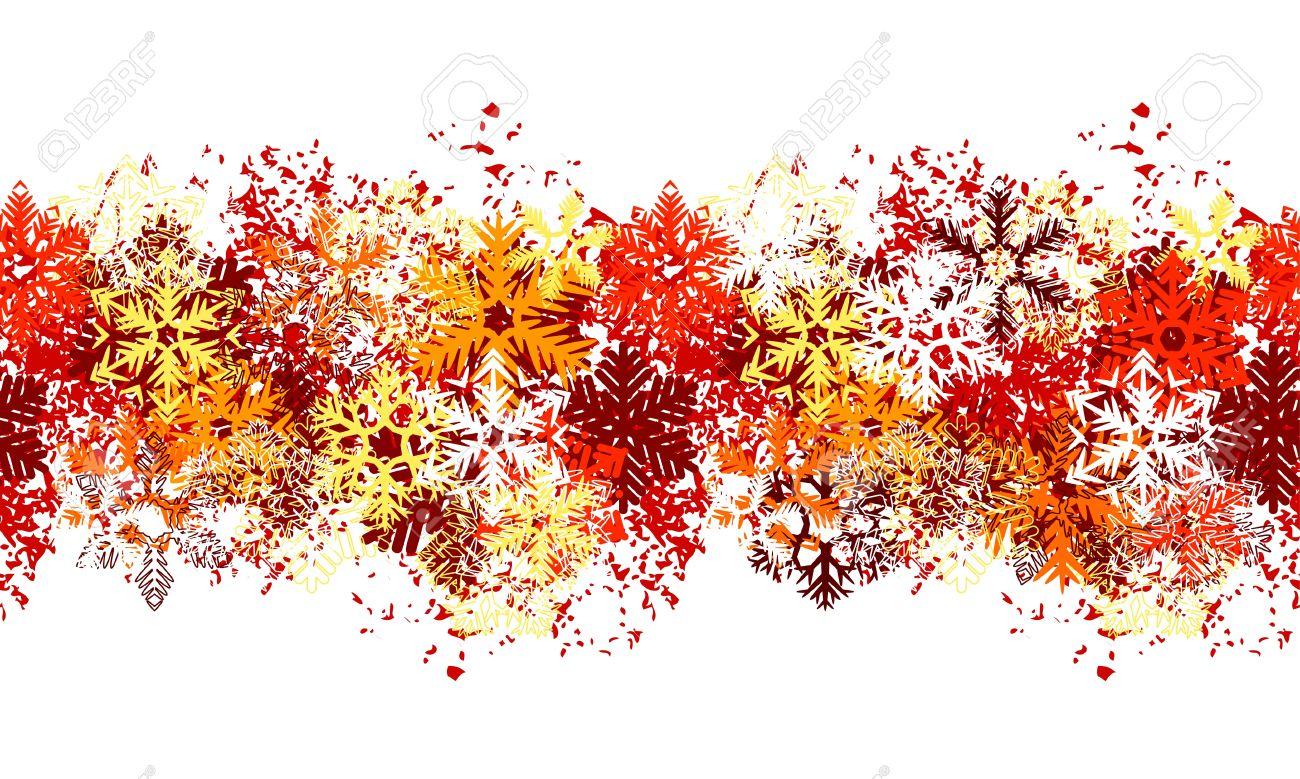 Seamless red border with different snowflakes Stock Vector - 10614886