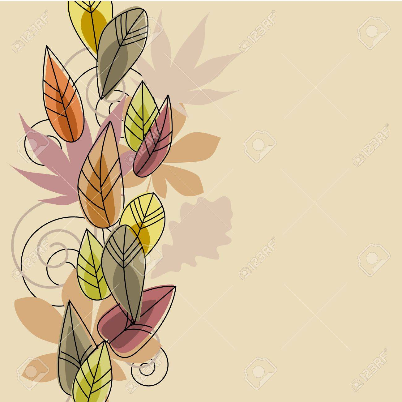 Beige background with stylized leaves Stock Vector - 10639758