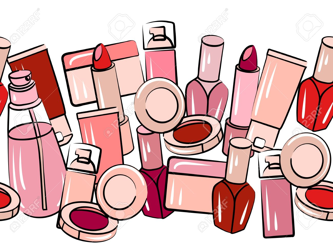 various cosmetics in seamless border royalty free cliparts vectors rh 123rf com makeup borders clip art makeup borders clip art