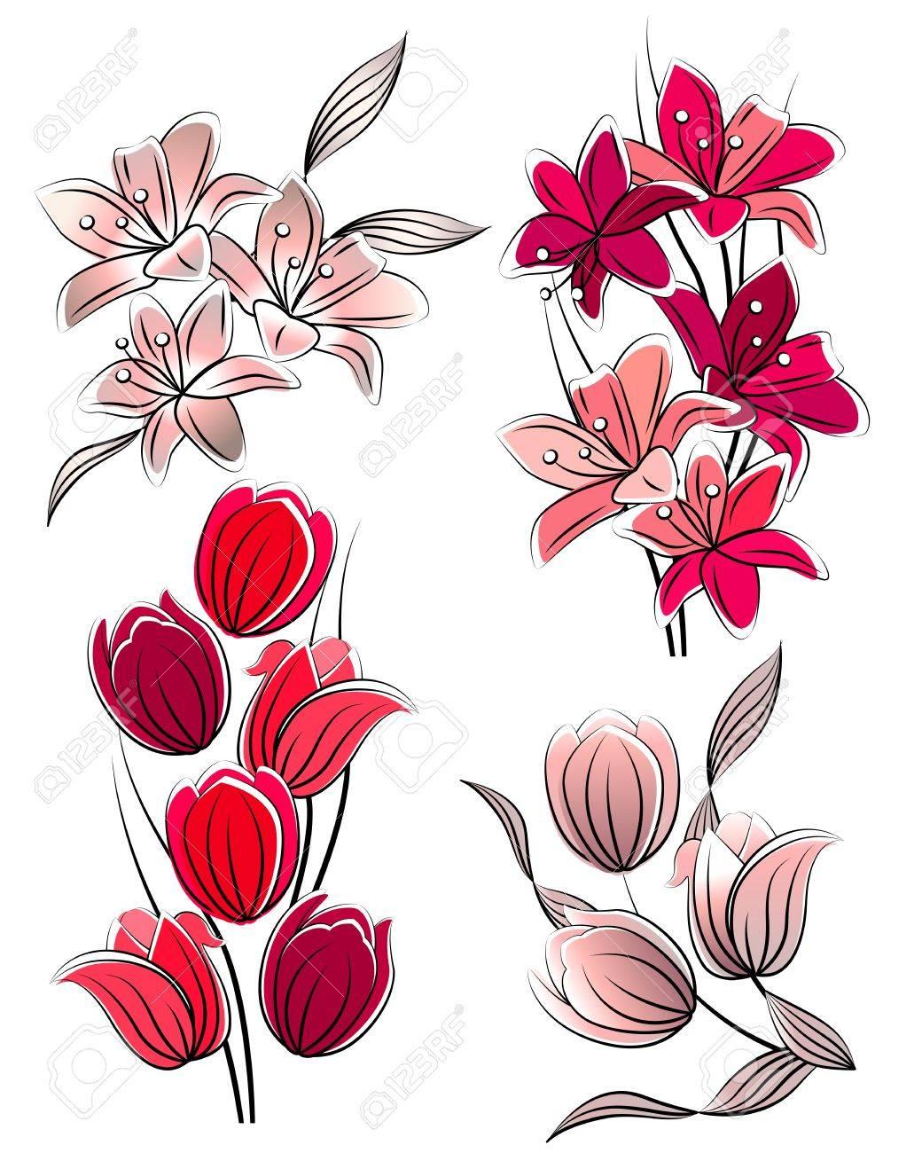 Fleurs Stylisées set de fleurs stylisées clip art libres de droits , vecteurs et