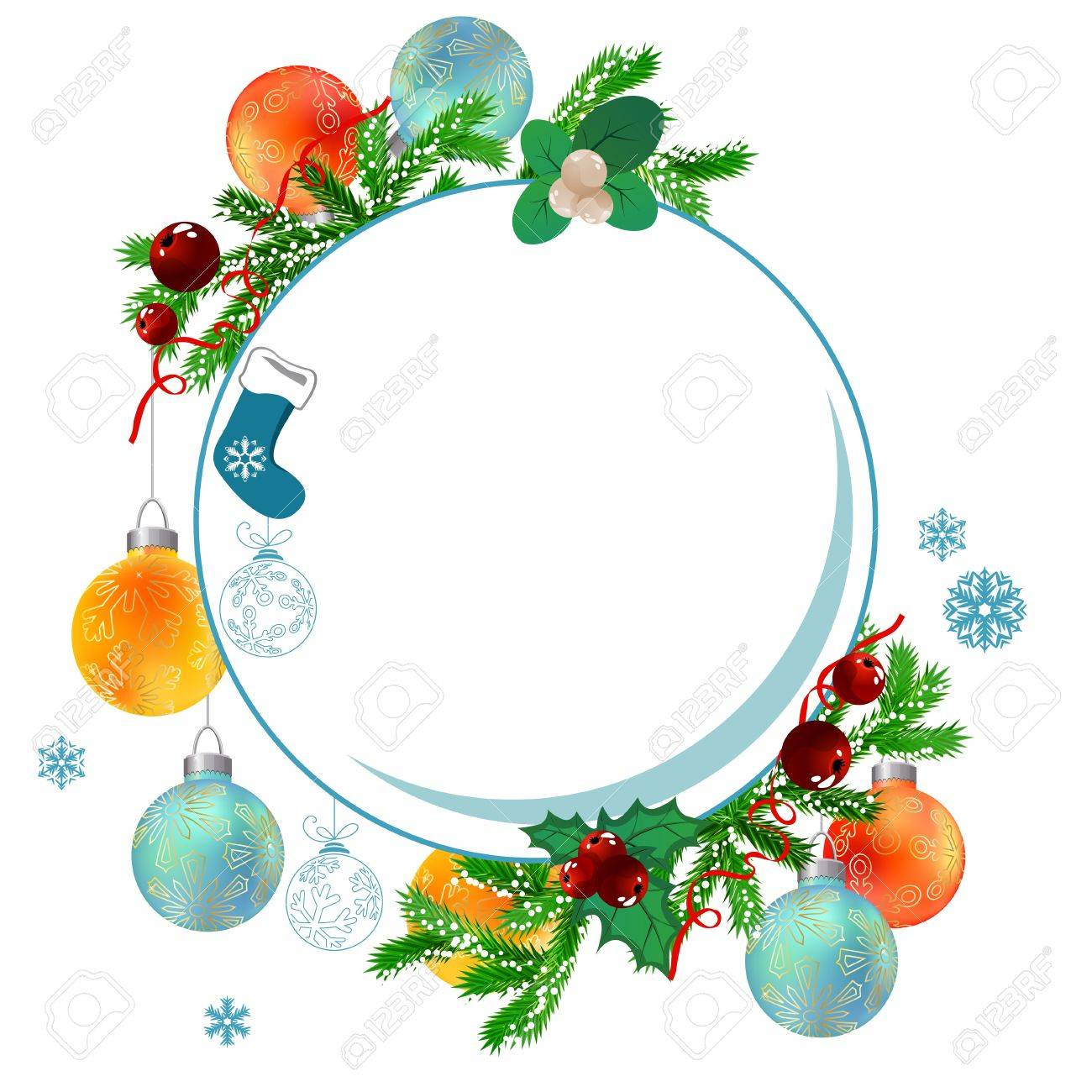 Christmas Frame Clipart.Christmas Frame With Balls And Fir Branches