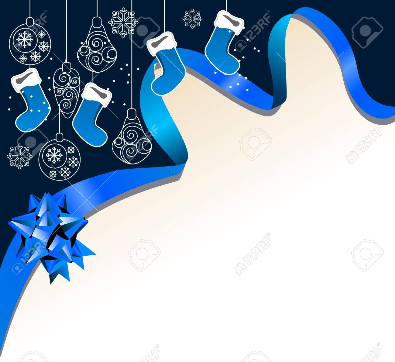 Christmas background with handing Santa socks Stock Vector - 11464639