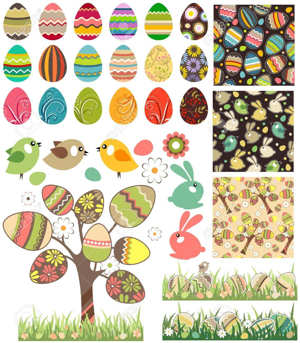 Big easter set with traditional eggs. Stock Vector - 12135727