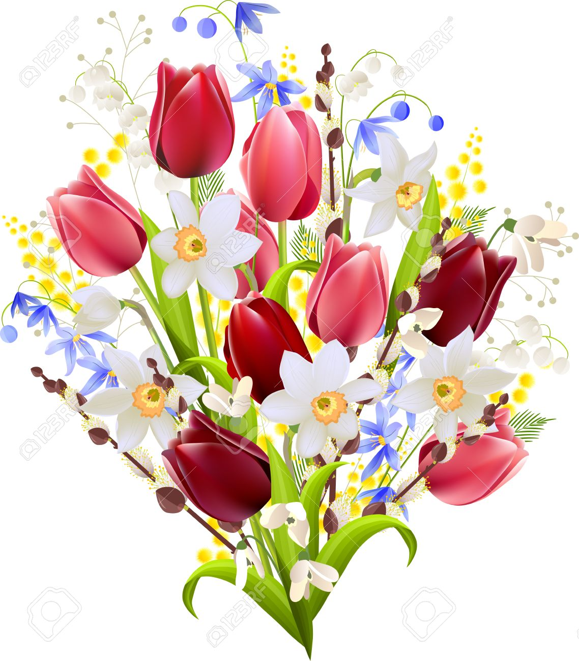 Big bunch of spring flowers on white royalty free cliparts vectors big bunch of spring flowers on white stock vector 38200401 mightylinksfo Images