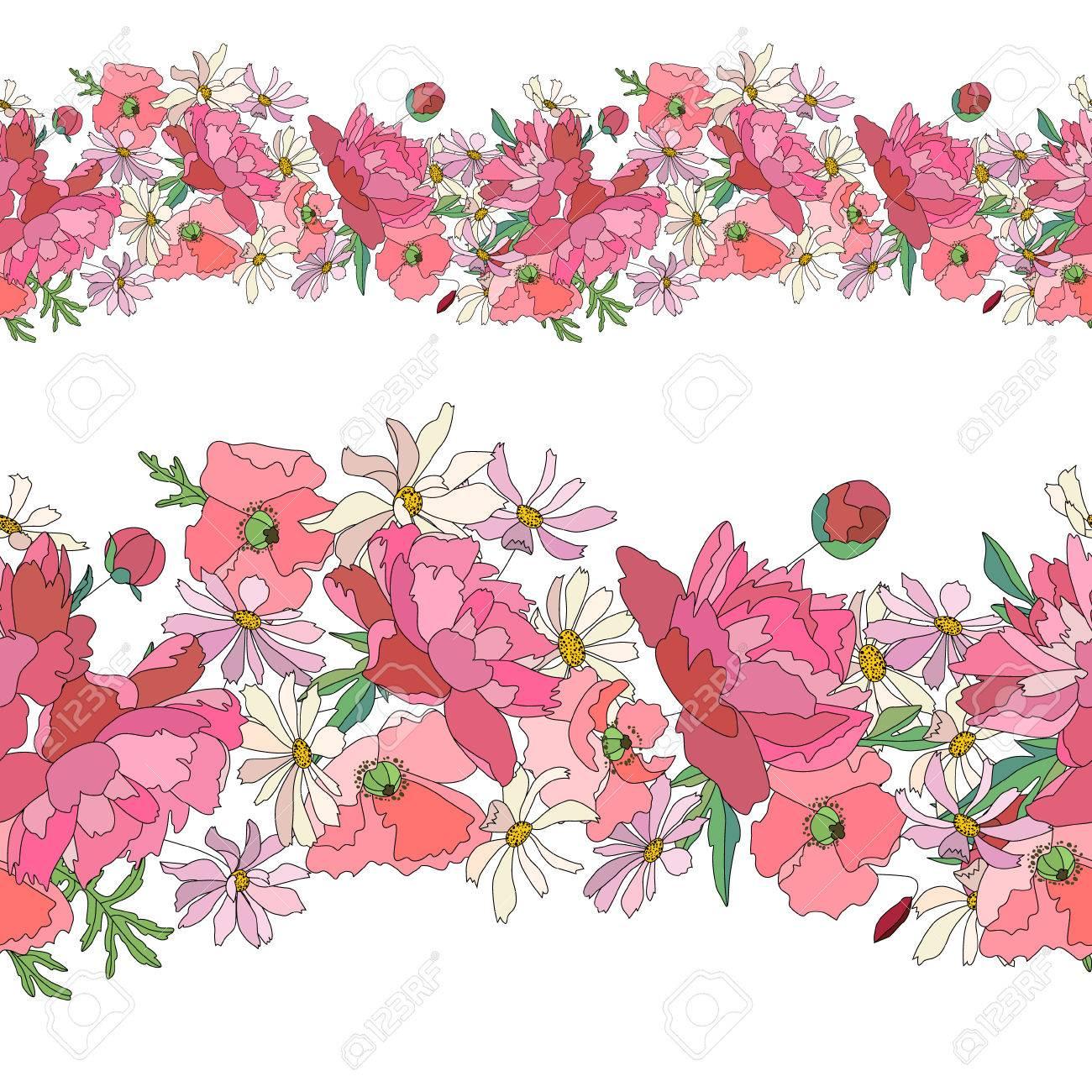 Motif Brosse Transparente Avec Fleurs Stylisées Dété Vives Texture Horizontale Sans Fin Couleurs Rose Et Rouge Poppy Marguerite Et De Pivoine