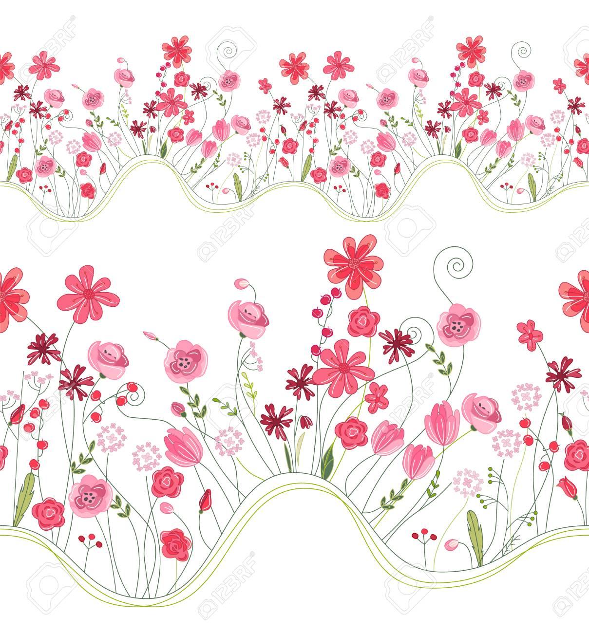 Motif Brosse Transparente Avec Fleurs Stylisées Dété Vives Texture Horizontale Sans Fin Couleurs Rose Et Rouge