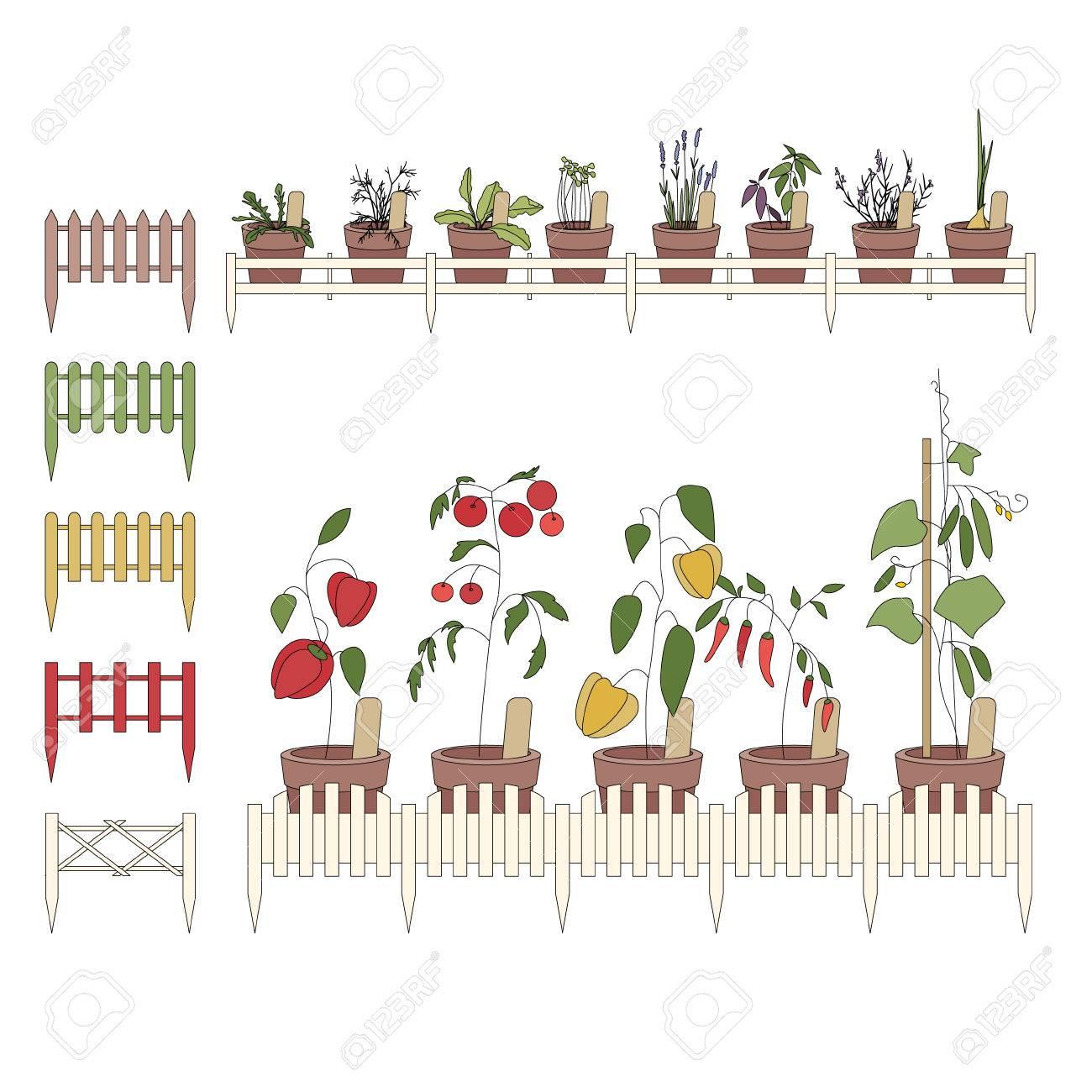 Blumentöpfe Mit Blumen Angebaut. Dekorative Zaun. Pflanzen Auf Der ...