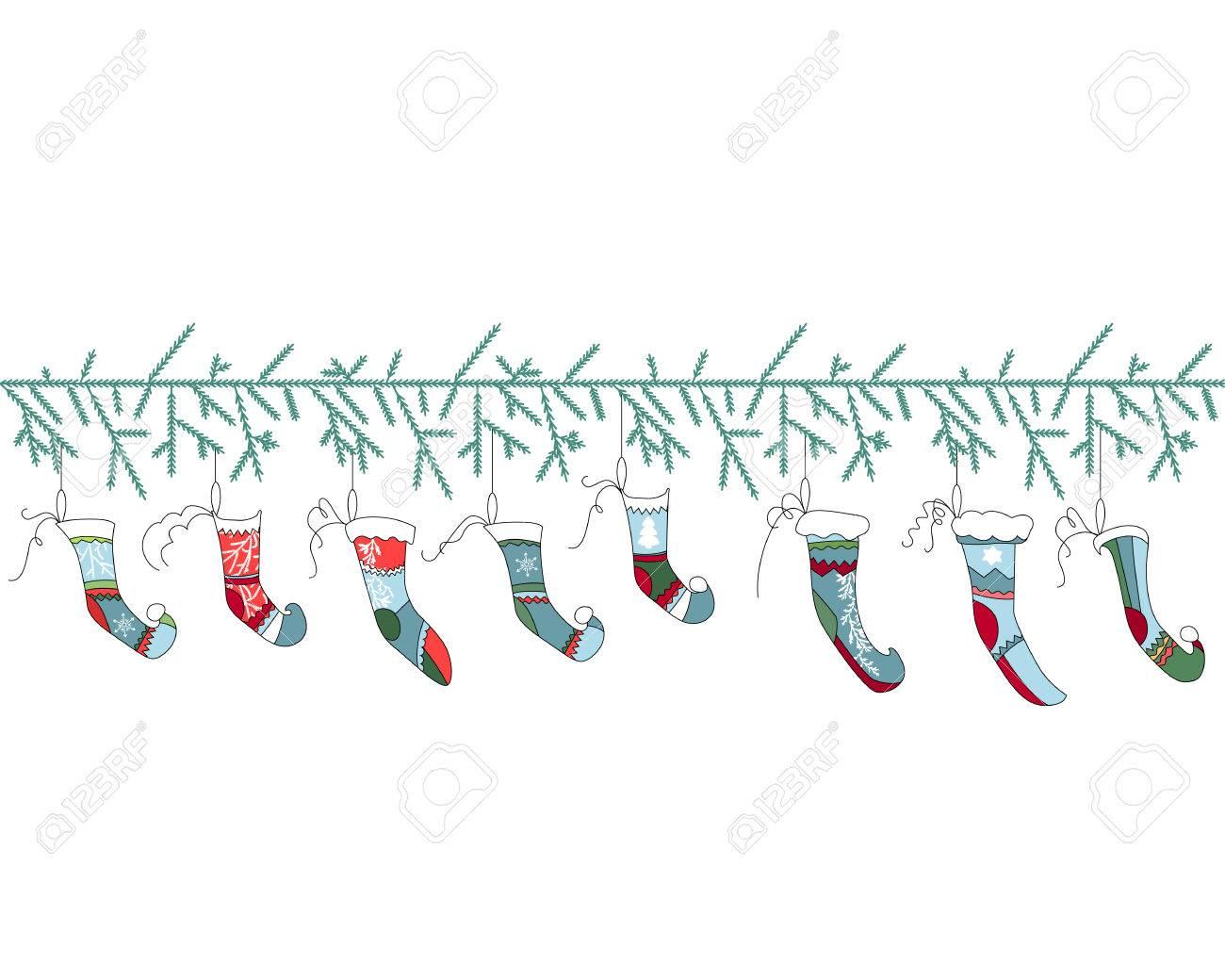 Nahtlose Muster Pinsel Mit Weihnachten Weihnachtssocken Auf Weiß ...