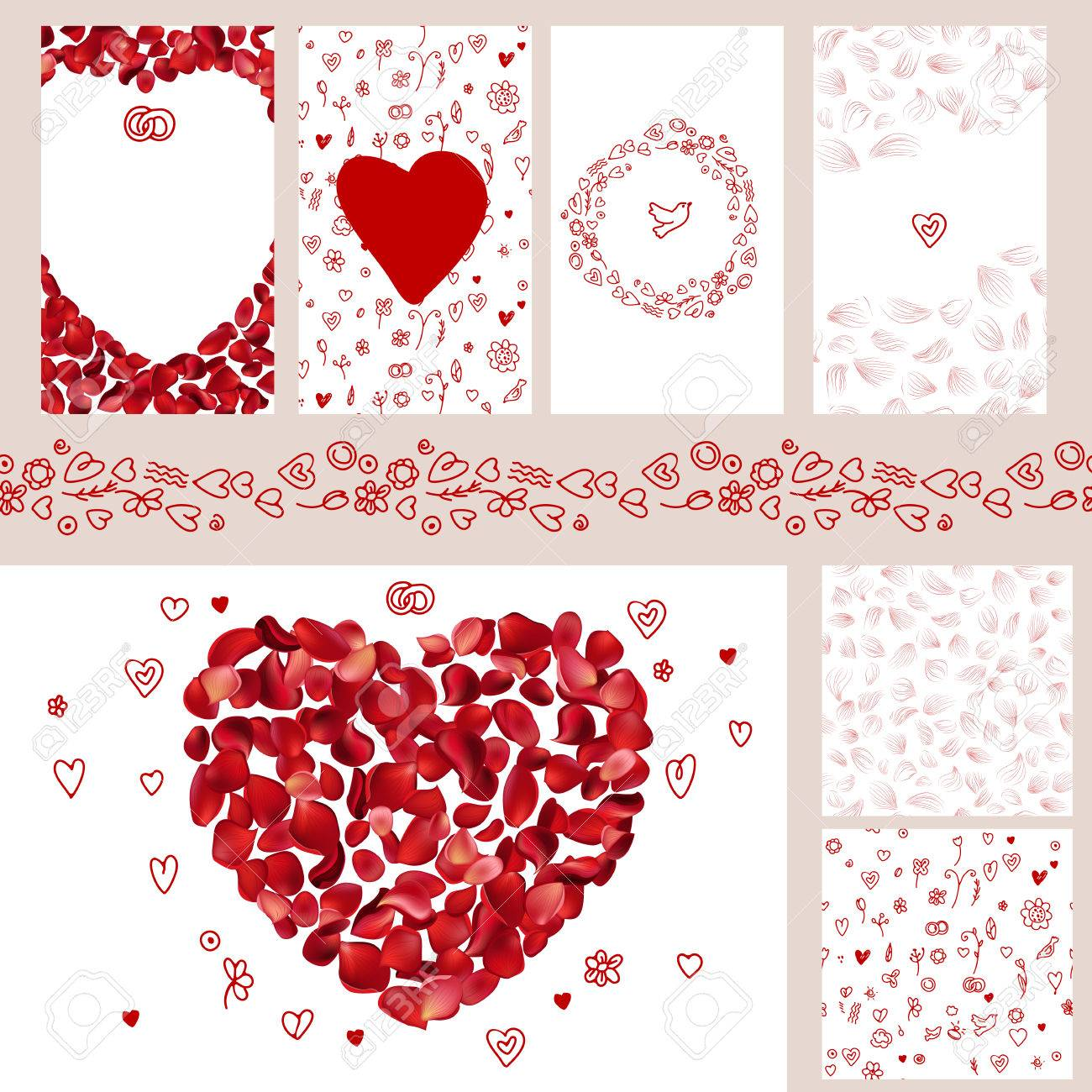 Wedding and Valentine's floral templates with red rose petals. For romantic design - 48251036