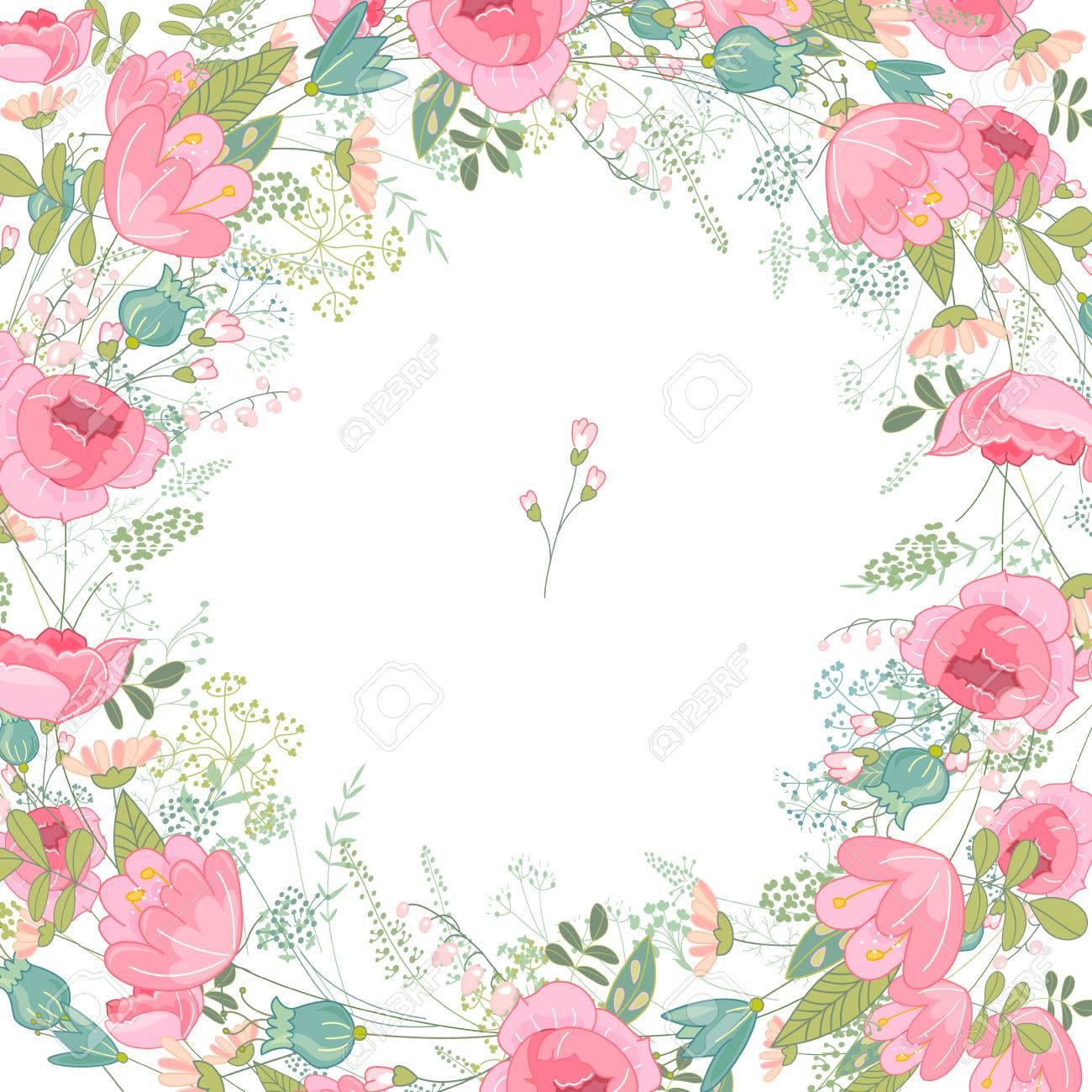 Marco Del Resorte Con Rosas Y Flores Diferentes Curvas De Nivel ...
