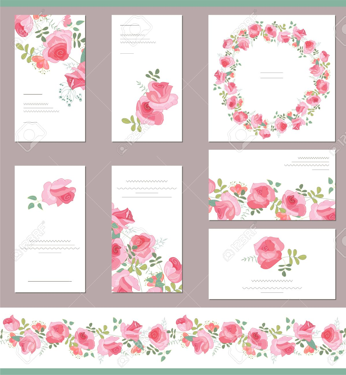 floral templates with cute bunches of red roses for romantic