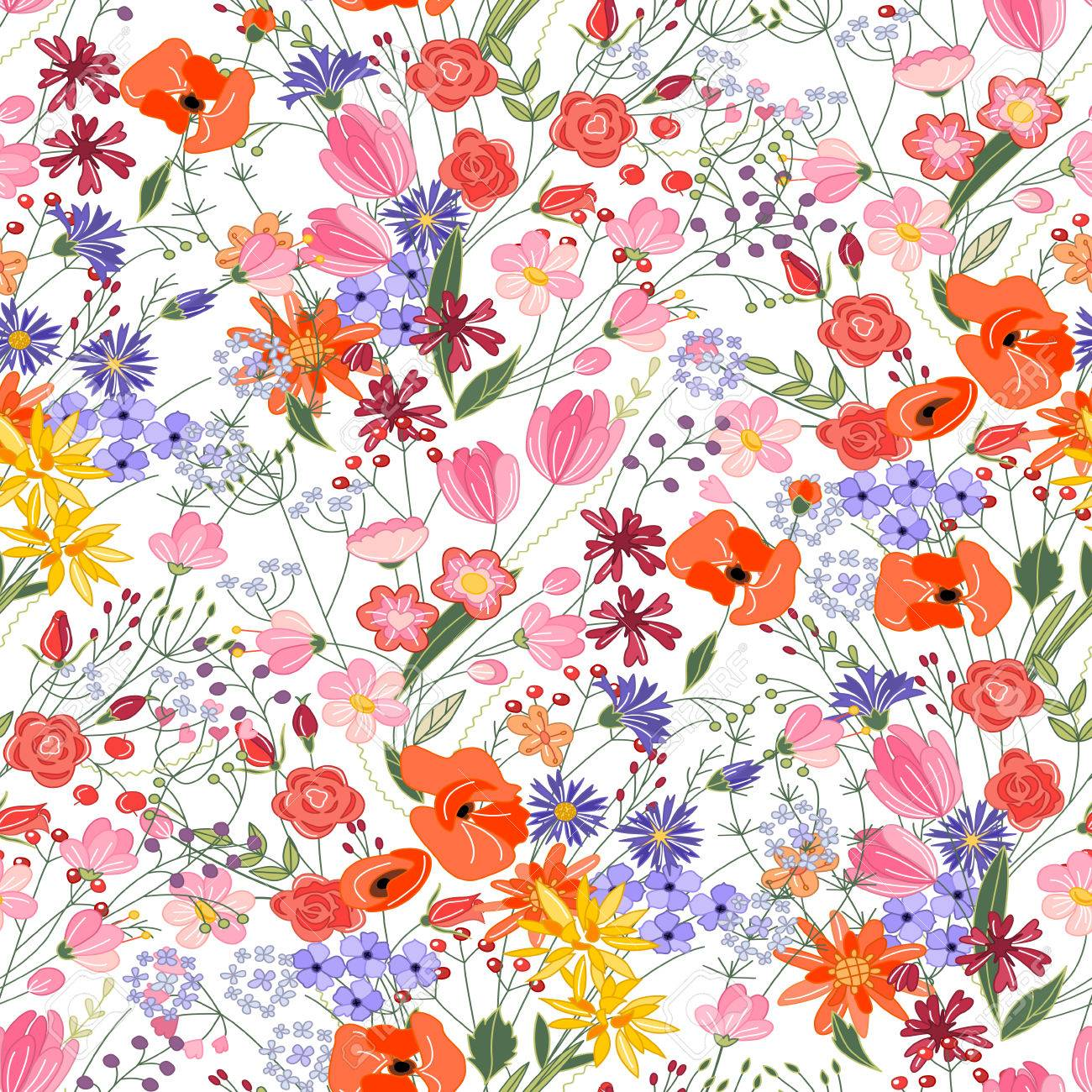 Floral seamless pattern with bright summer flowers. Endless texture for romantic design, decoration, greeting cards, posters, invitations, advertisement. - 56476800