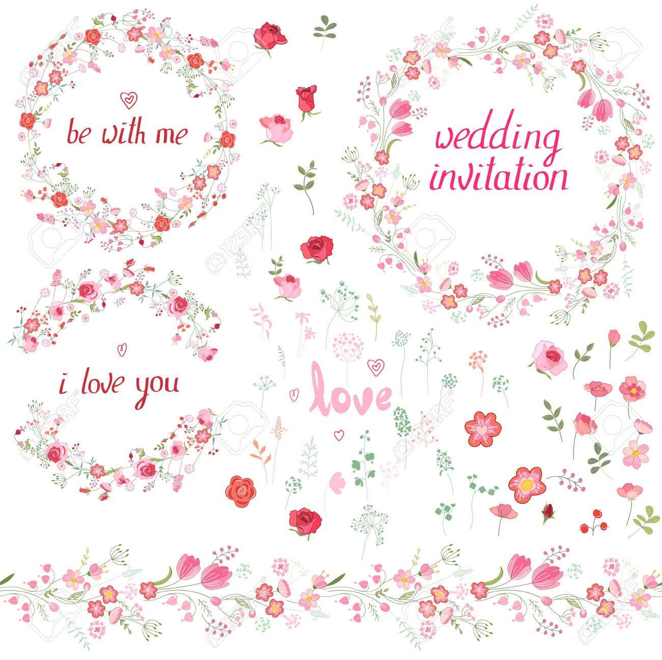 Romantic Set With Floral Elements, Round Frames Made Of Roses ...