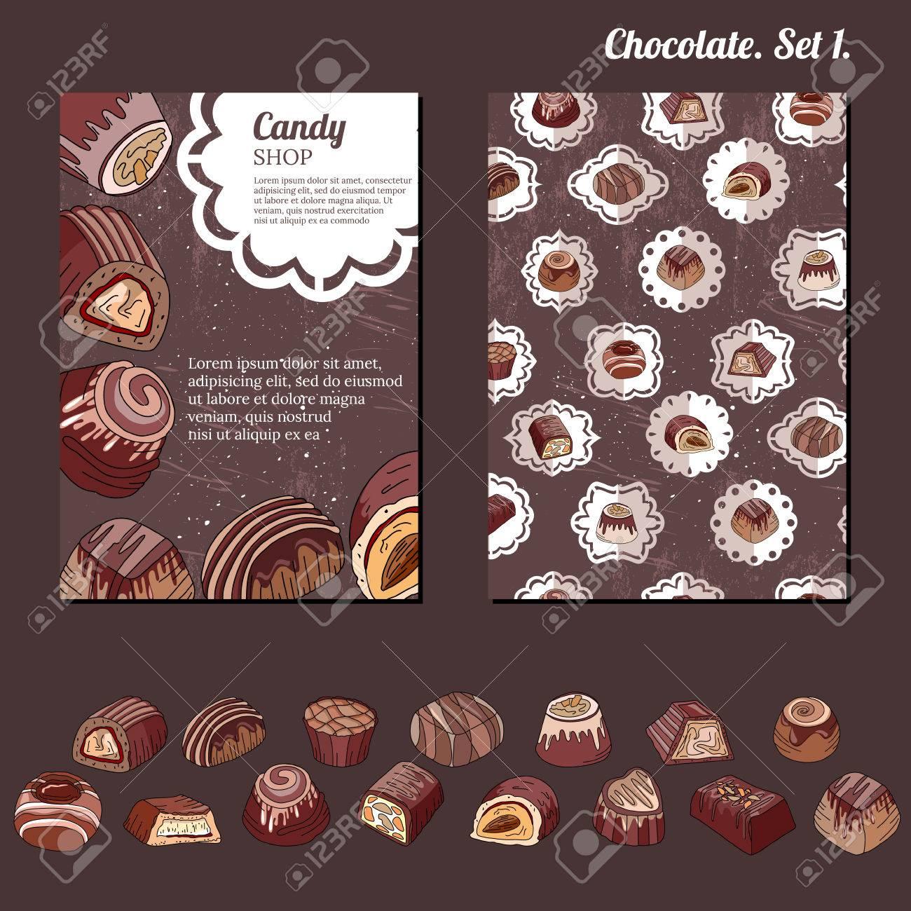 Plantilla Con Diferentes Tipos De Dulces De Chocolate - Leche ...
