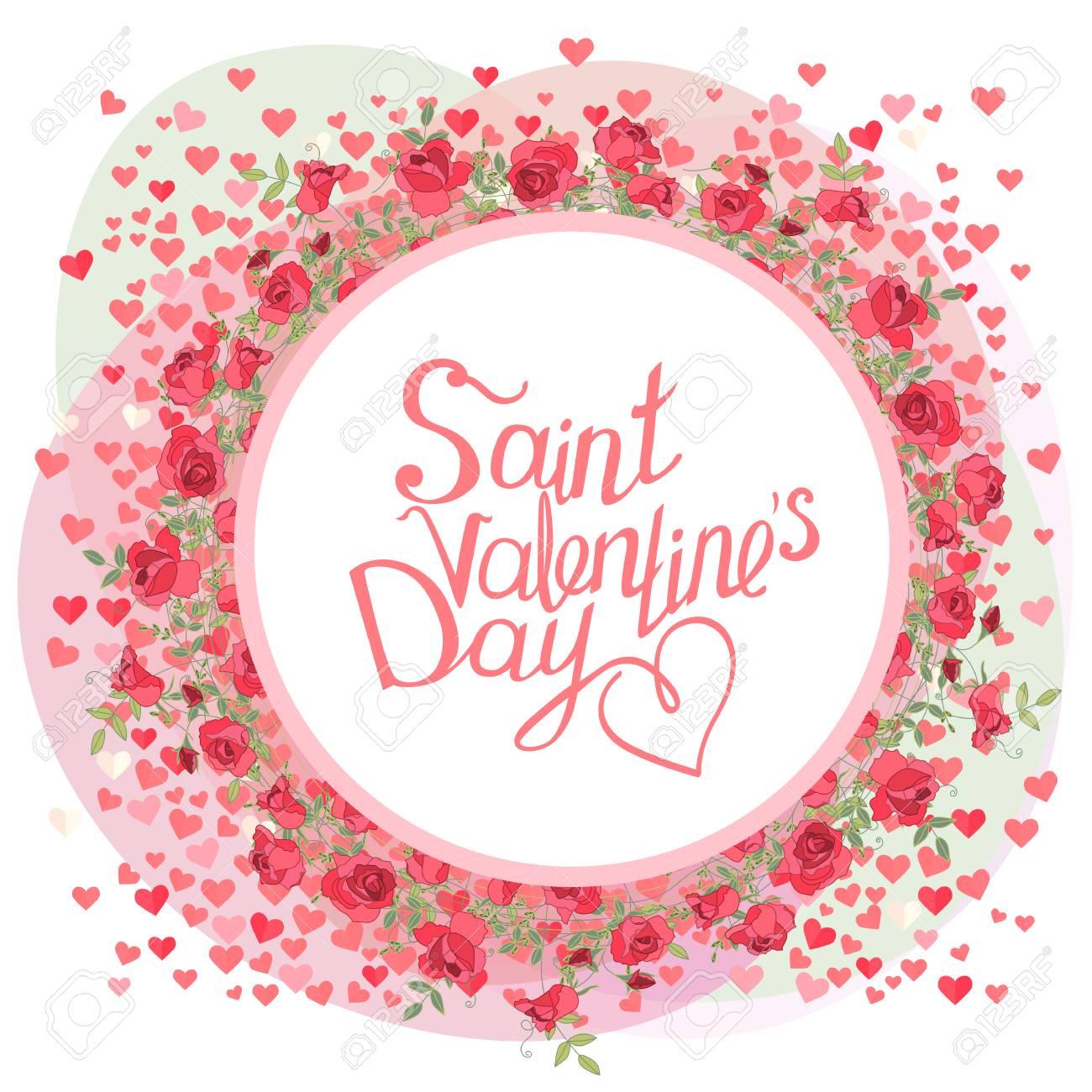 Marco Redondo Con Flores Y Frase De Caligrafía San Valentín Color Rojo Y Rosa Para El Diseño Romántico Anuncios
