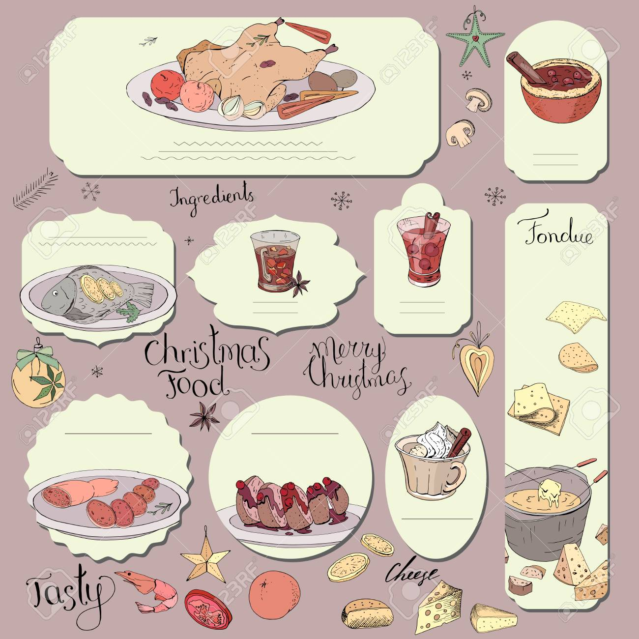 Set Of Different Cards With Traditional Cheese And Chocolate Fondue Template For Season Festive