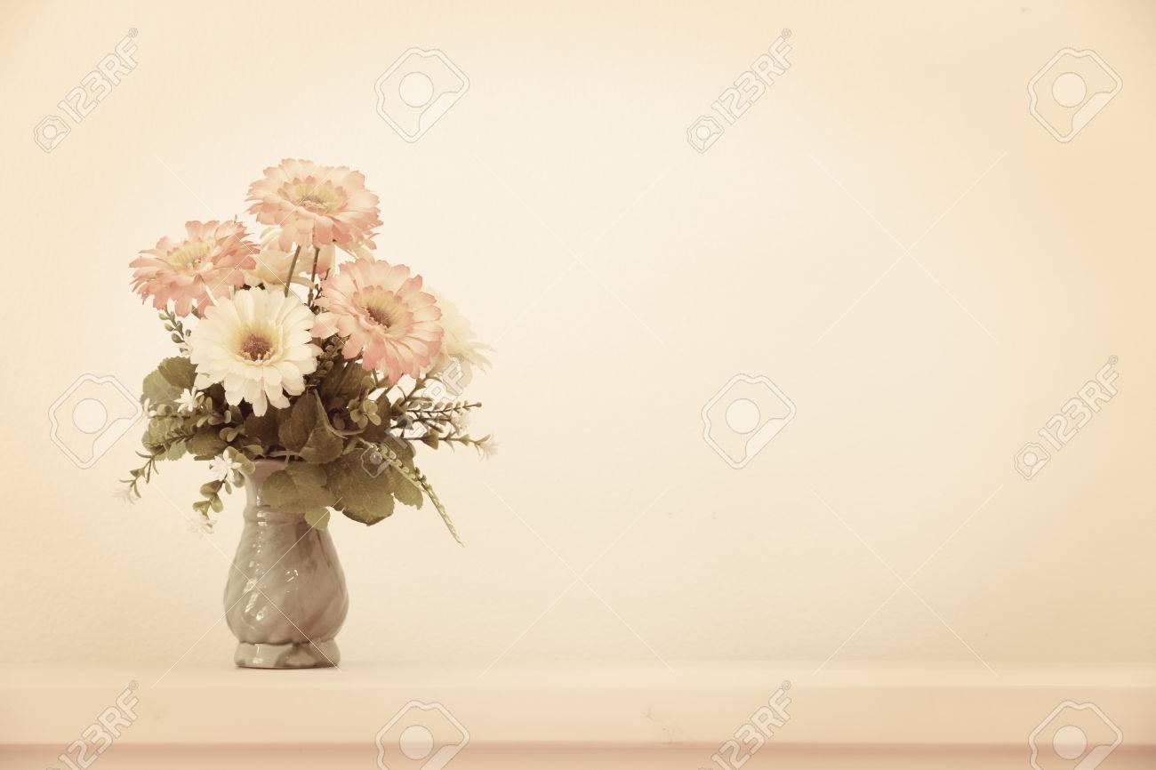 Flower Bouquet On Headboard Vintage Effect Style Stock Photo