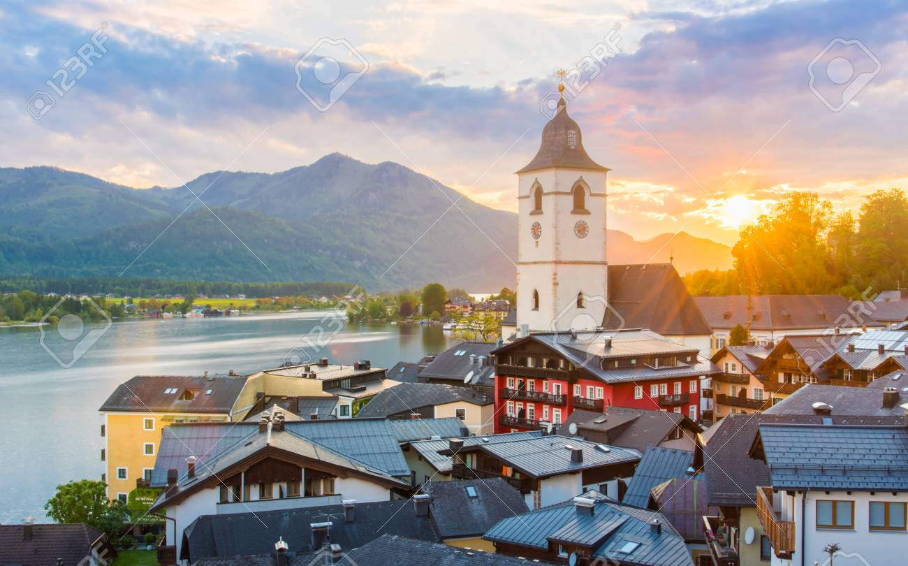 View from the hotel at St. Wolfgang Lake in beautiful Sunset summer time, Austria - 115023913